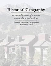 Volume 44 cover with photo of Brckenridge, Colorado. Special issue Feminist Historical Geographies.