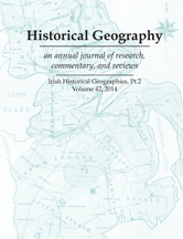 Historical Geography Vol. 42 cover. Issue title Irish Historical Geographies, part 2. Illustration is historical map of Ireland
