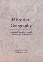Historical Geography Volume 39 cover.