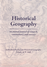 Historical Geography Volume 36 cover